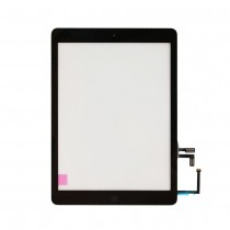 Touch Screen Glass Digitizer Replacement with Home Button, Camera Plate, Sticker for Apple iPad Air A1474 1475 1476 (Supreme) - Black